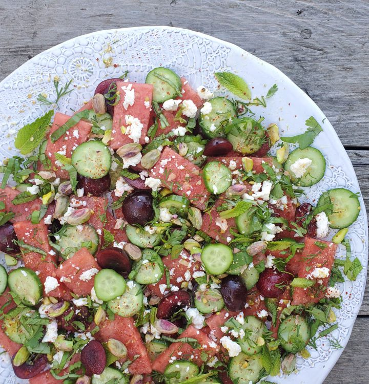 Watermelon Herb Cucumber Salad