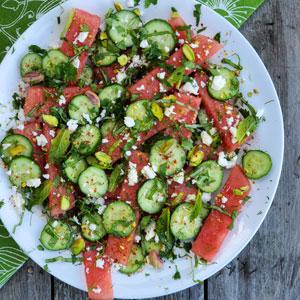 Watermelon herb cucumber salad