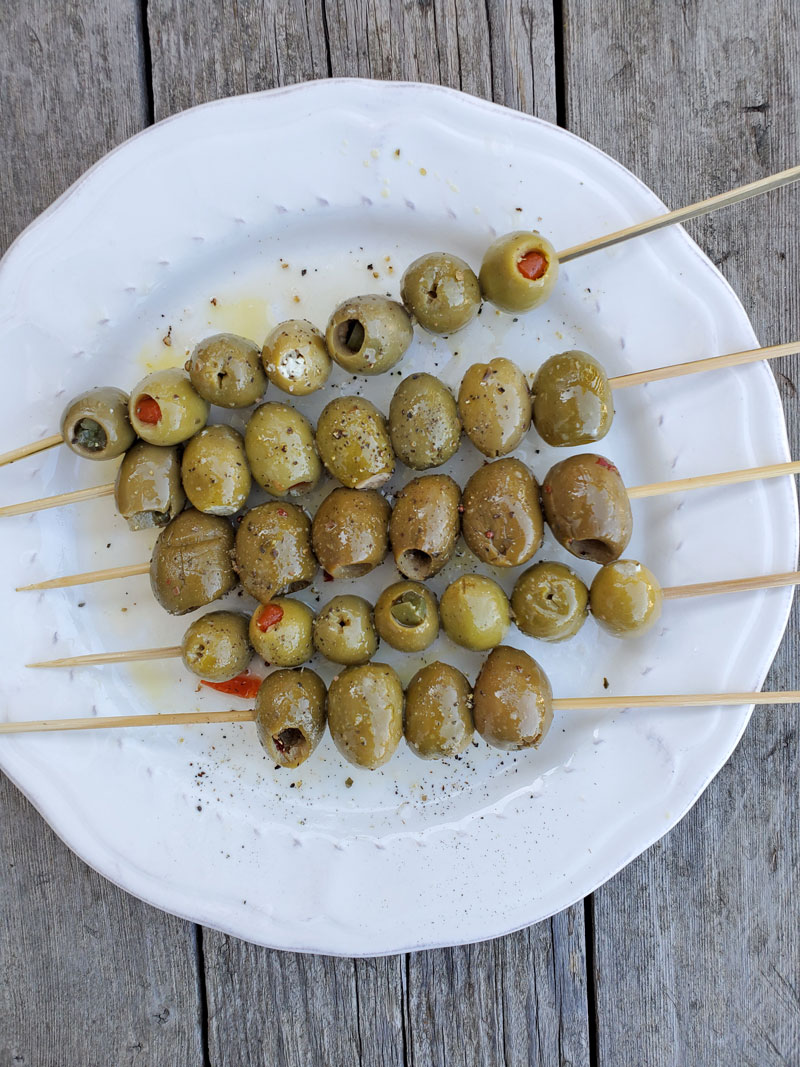 Grilled Skewered Olives