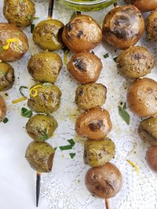 Grilled olives with potatoes