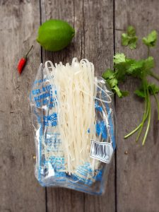 Rice noodles used in Thai Turkey Coconut Soup