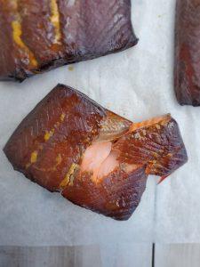 a piece of smoked salmon