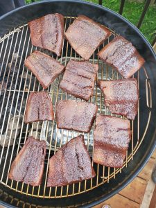 Marinated salmon on the grill